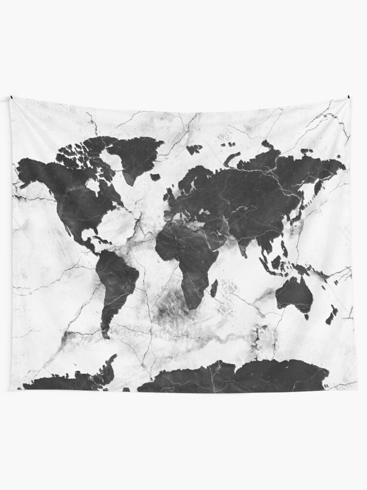 World Map Tapestry Black And White : world, tapestry, black, white, World, Marble