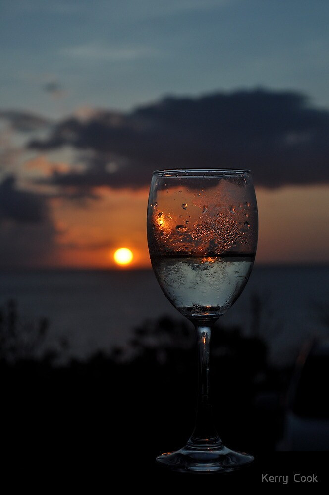 Sunset through wine glass by Kerry Cook  Redbubble