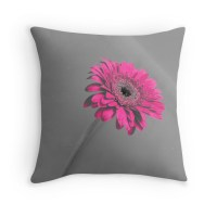 """Fuschia Gerbera"" Throw Pillows by CreativeEm 