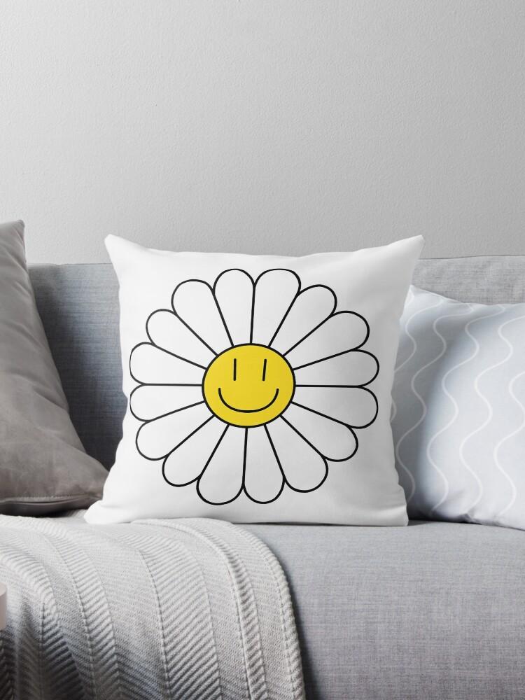 smiley face daisy throw pillow by rachelpatris redbubble