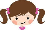 """""""cute cartoon girl with brown hair"""