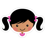 """cute cartoon girl with pigtails"