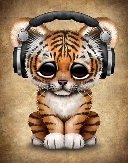 Cute Elephant Cartoon Wallpapers Quot Cute Tiger Cub Dj Wearing Headphones Quot Poster By