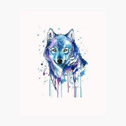 Purple Galaxy Wolf Photographic Print by creaturesofnat Redbubble
