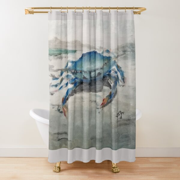 blue crab shower curtains redbubble