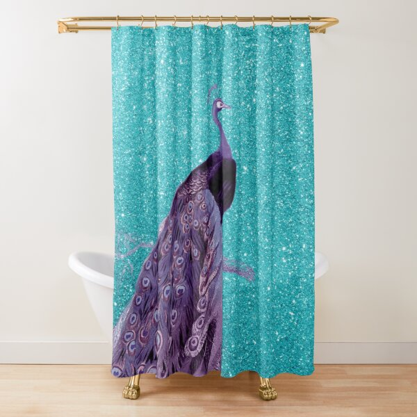 purple peacock on sparkling turquoise shower curtain by aprincessinsp redbubble
