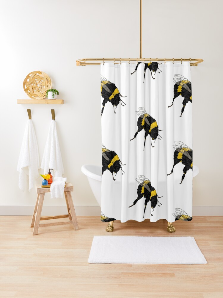 bumble bee shower curtain by pbportfolio redbubble