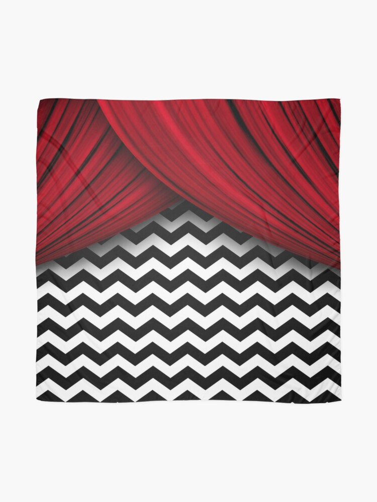 twin peaks red curtains black and white chevron scarf by hailish redbubble