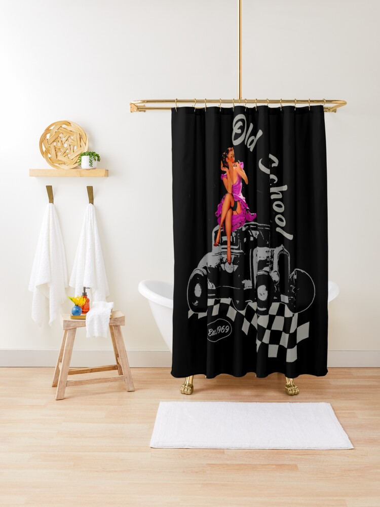 old school hot rod pin up shower curtain by blackrain1977 redbubble