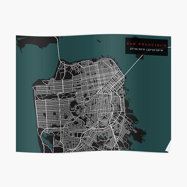 san francisco map poster by rogue design redbubble