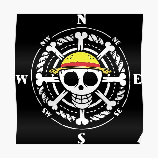 One piece luffy flag depicts a classic jolly roger with a skull and crossbones on a black background, but with the distinction of having a straw hat referring. One Piece Jolly Roger Compass Poster By Animebrands Redbubble
