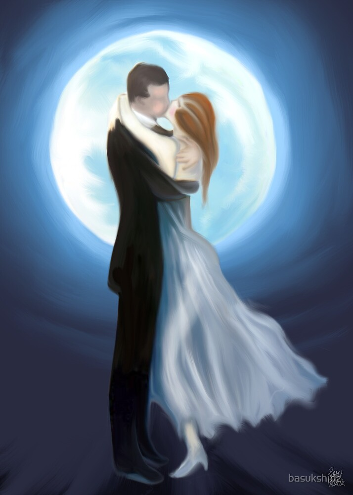 painting of love couple in moon light  by basukshitiz  Redbubble