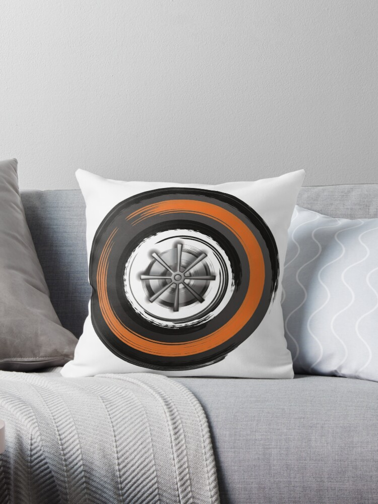 formula 1 in motion superhard tyre throw pillow by beardycat redbubble