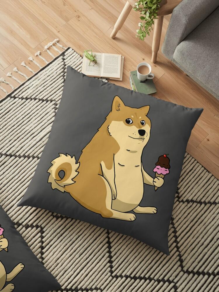 chubby shiba inu doge floor pillow by sivelobanova redbubble