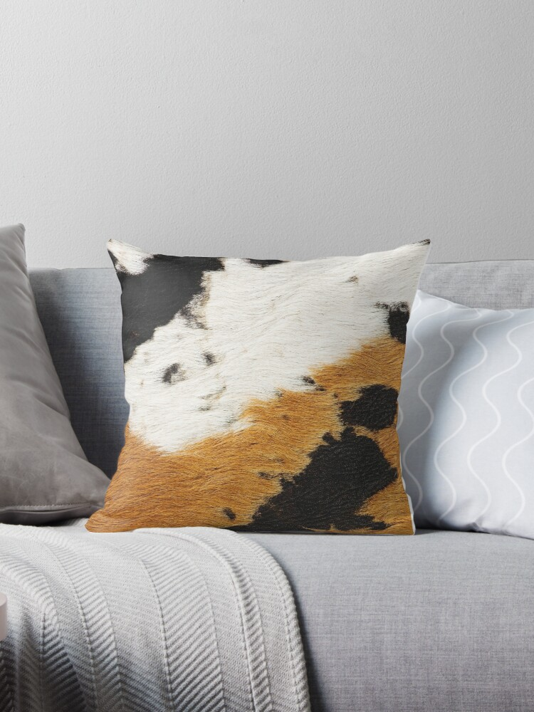 tan cow leather faux cowhide leather throw pillow by cadinera redbubble