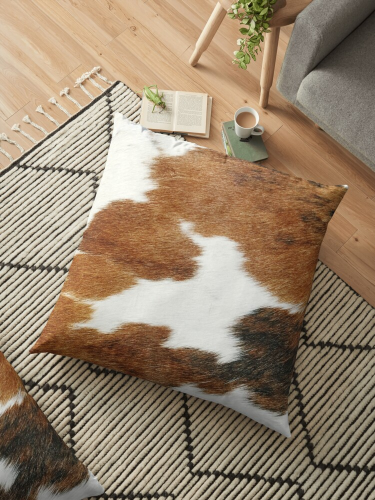 cow faux fur floor pillow by cadinera redbubble
