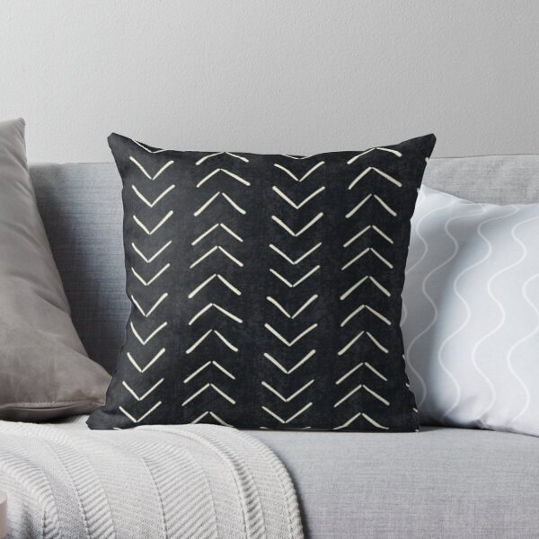 black mudcloth pillow version throw pillow by hellcom redbubble