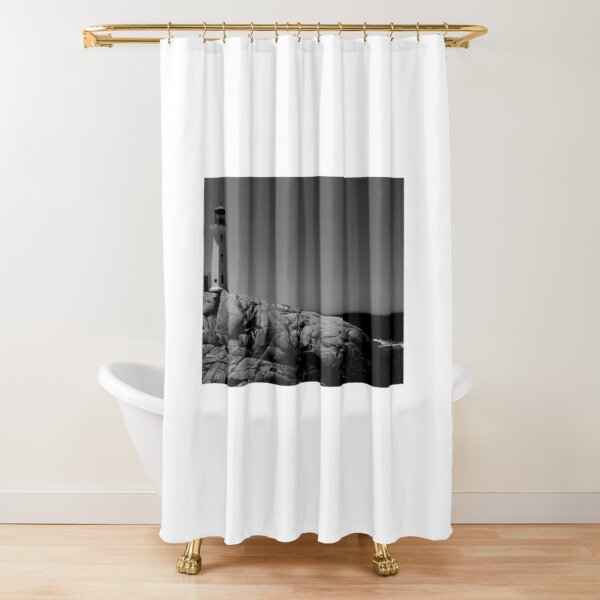 peggys point lighthouse shower curtains redbubble