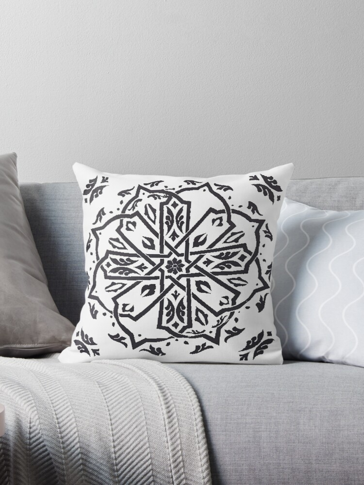 moroccan black white kilim boho pillows throw pillow by rabiadesigns redbubble