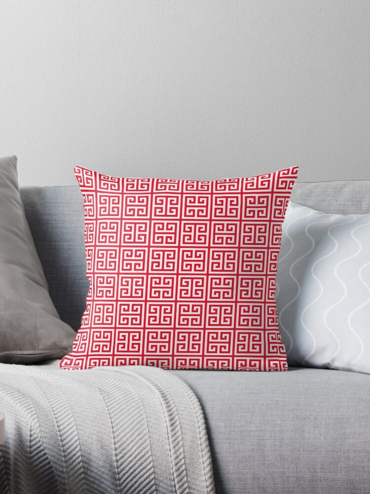 red greek key pattern greek fret design throw pillow by ohaniki redbubble