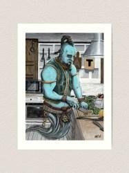 Genie Cooking Kitchen Magic Fantasy Art Image Art Print by HelmsArt Redbubble