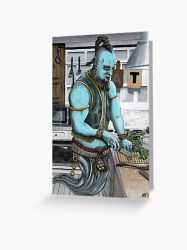 Genie Cooking Kitchen Magic Fantasy Art Image Greeting Card by HelmsArt Redbubble
