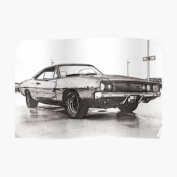 poster dodge charger redbubble
