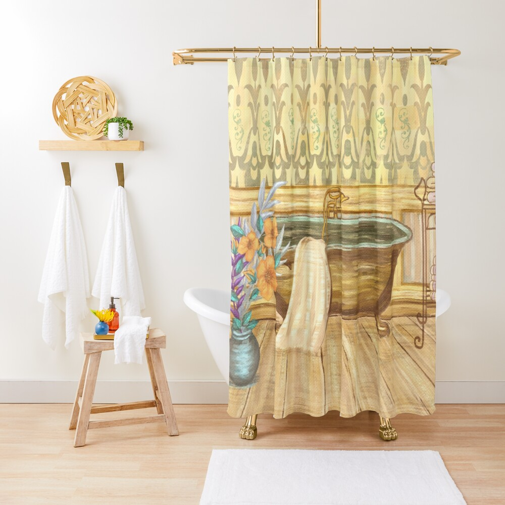 vintage claw foot tub bathroom decor shower curtain by sunnthreads redbubble
