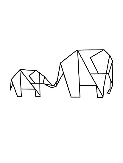 Elephant Origami Drawing