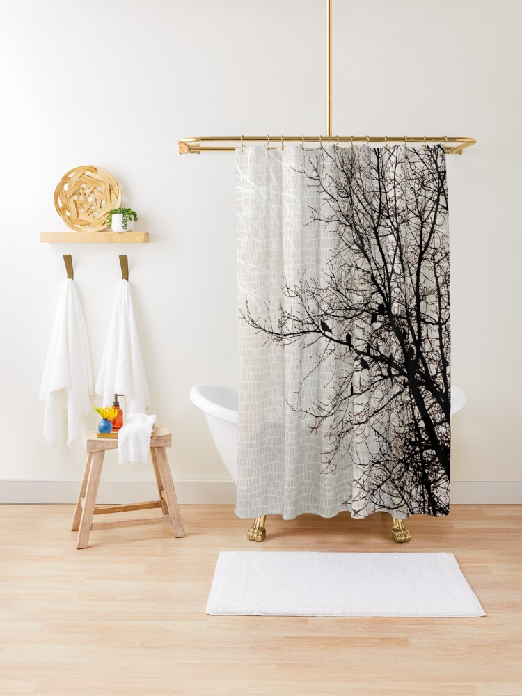 doves in tree branches modern nature dark brown taupe shower curtain by jocelynsart redbubble