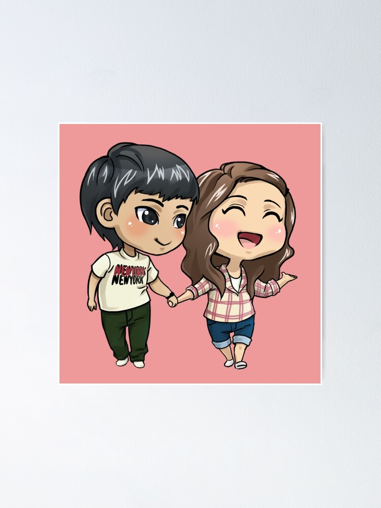 Girl And Boy Holding Hands Drawing : holding, hands, drawing, Couple,Twins,, Holding, Hands, Cartoon, Drawing, Animation,, Anime, Couple.valentines, Poster, Modymagic3, Redbubble