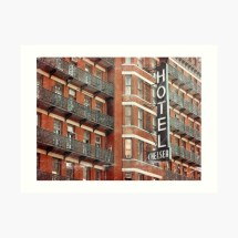 """""""facade Of Chelsea Hotel With Neon Sign """" Art Print"""