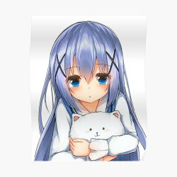 Very cute anime girl with blue hair Lovely girl with deep blue eyes Anime girl with cat toy Hot angel Poster by Hot Angel Redbubble