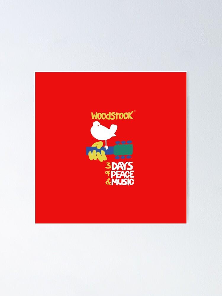 woodstock 1969 roter hintergrund poster von hypnotzd redbubble