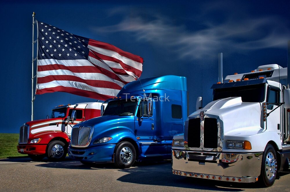 Red White and Blue SemiTrucks by TeeMack  Redbubble