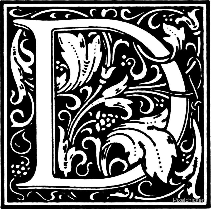 William Morris Renaissance Style Cloister Alphabet Letter