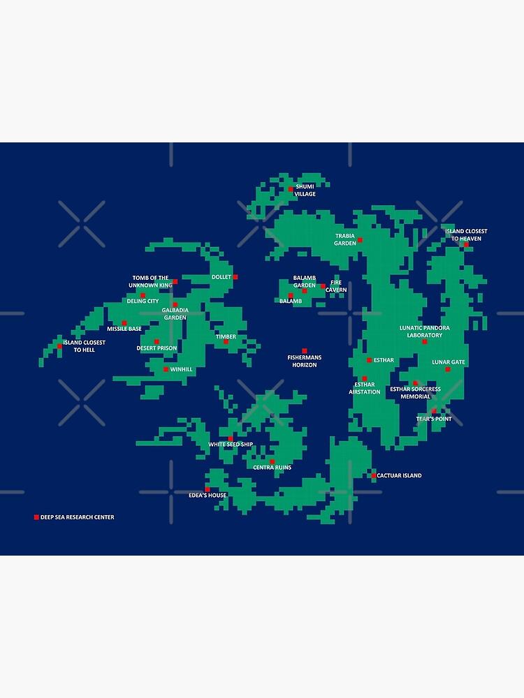 Final Fantasy 8 World Map : final, fantasy, world, Pixelated, Final, Fantasy, World, Board, Print, Inotyler, Redbubble