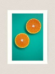 Oranges with teal background for a modern minimalist aesthetic Art Print by Anisha Dhankhar Redbubble