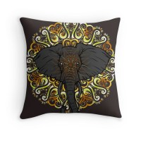 """""""Awesome Indian Looking Elephant"""" Throw Pillows by"""