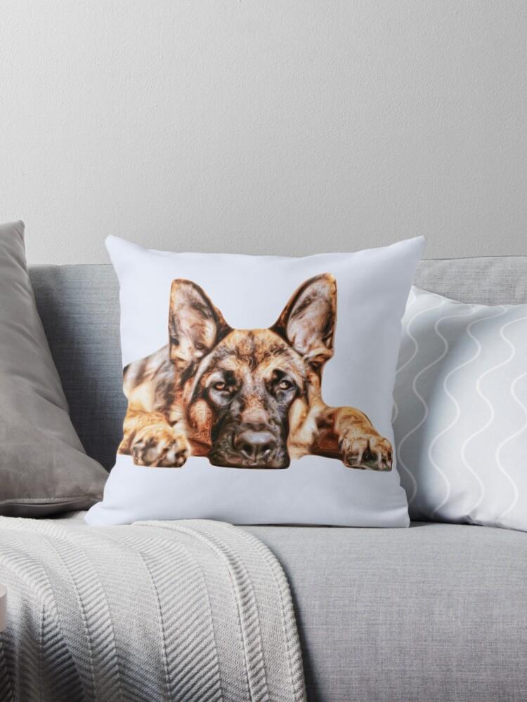 german shepherd dog throw pillow by phutball redbubble