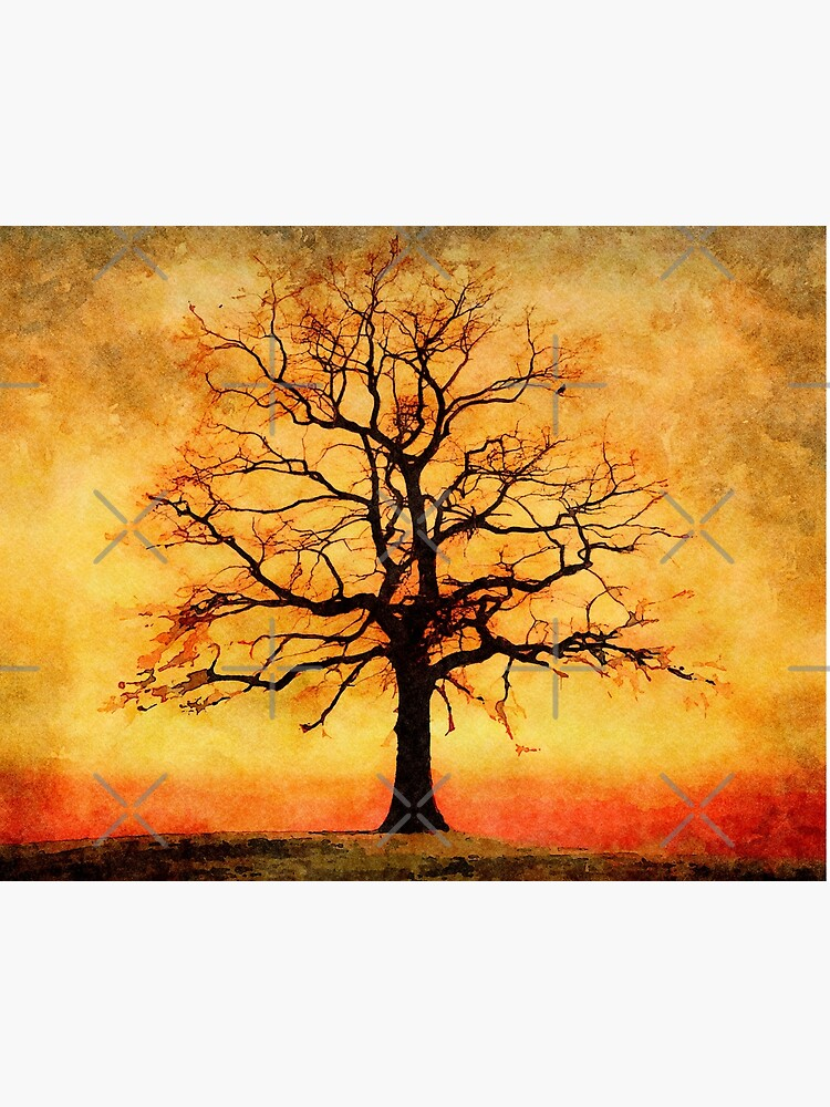 Tree Silhouette Painting : silhouette, painting, Watercolor, Autumn, Silhouette, Painting