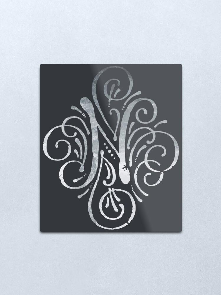 N In Calligraphy : calligraphy, Monogram, Silver, Calligraphy, Letter, Metal, Print, Junkydotcom, Redbubble