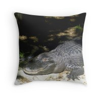 """Alligator Sunbathing"" Throw Pillows by blakcirclegirl"