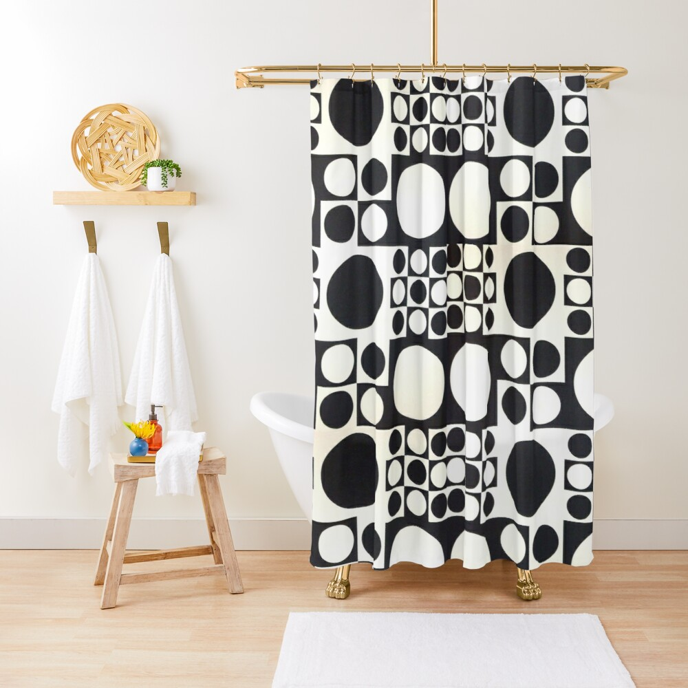 verner panton black white circles shapes pattern seamless wallpaper design shower curtain by ibljutiy redbubble