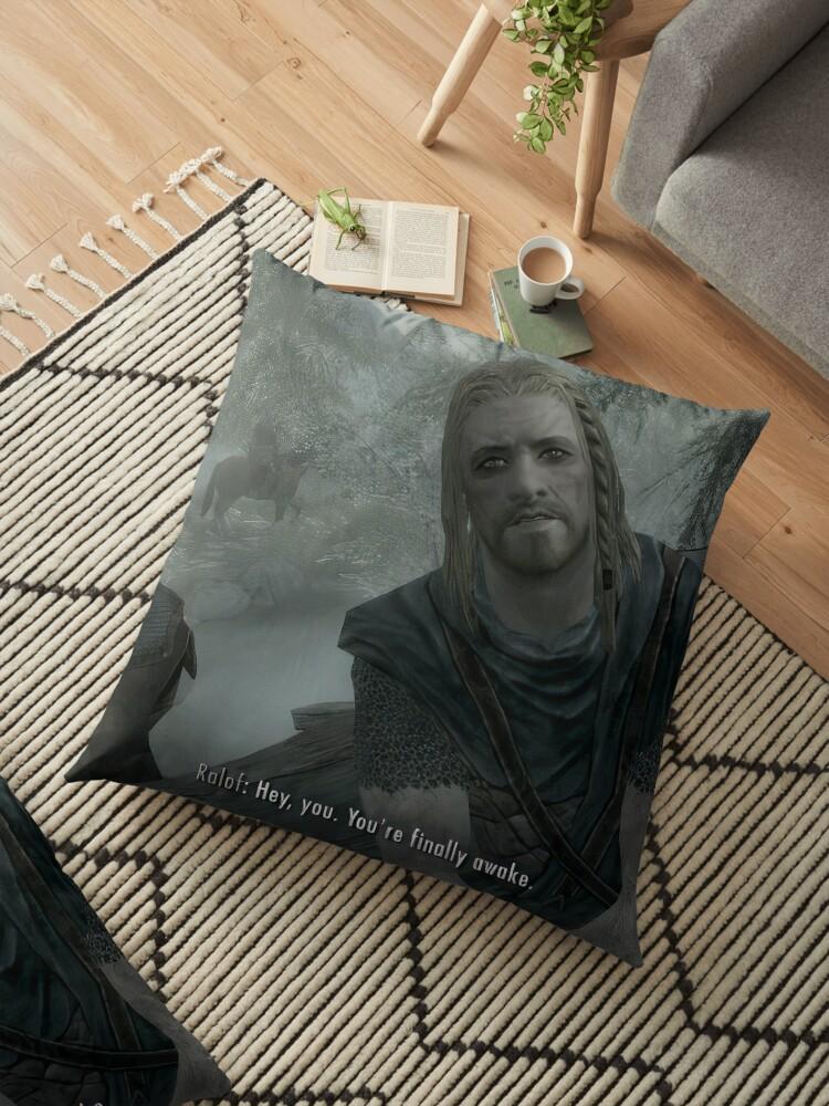 Hey You You Re Finally Awake Pillow : finally, awake, pillow, Youre, Finally, Awake, Skyrim, Floor, Pillow, Merch-On, Redbubble