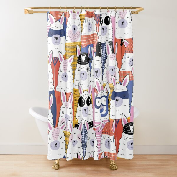 alpaca shower curtains redbubble