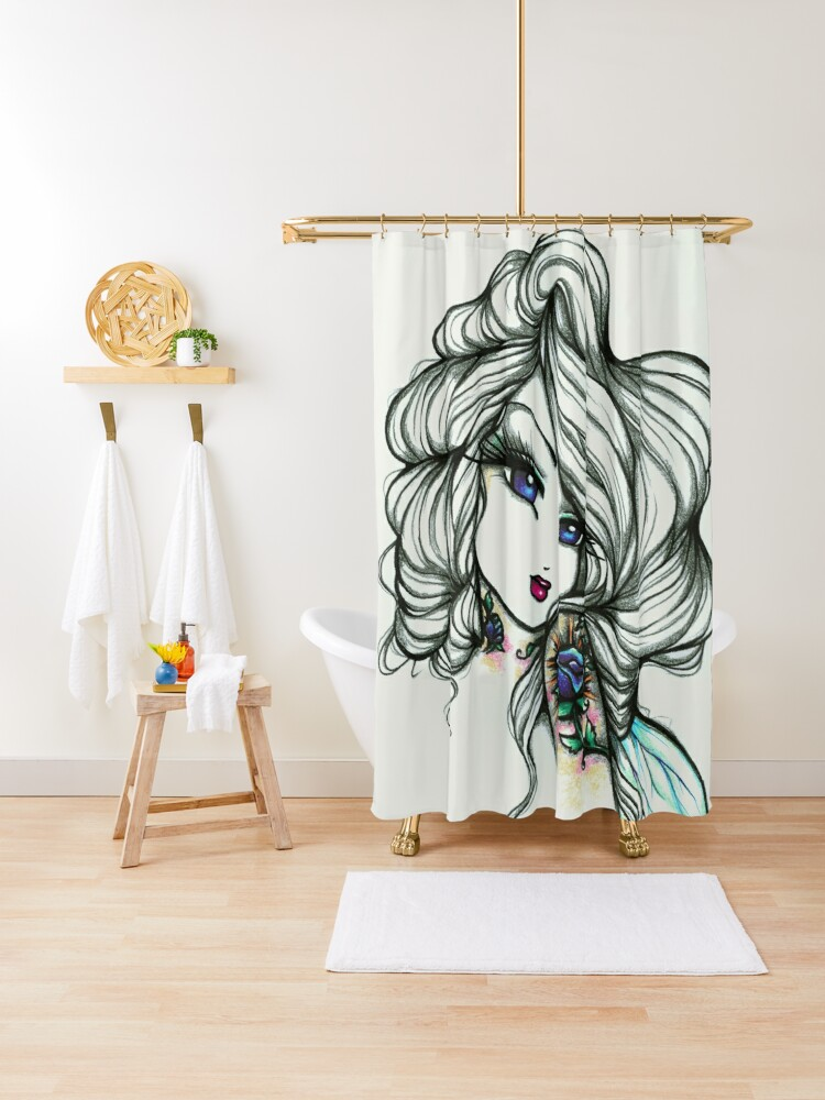 tattooed fairy greyscale with a pop of color fantasy art shower curtain by hannahlynnart redbubble