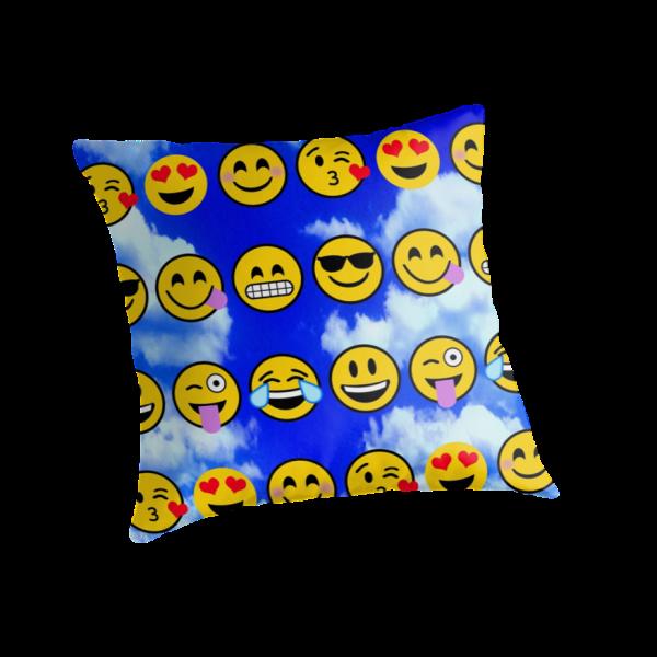 """emoji Blue Sky Puffy Clouds "" Throw Pillows"