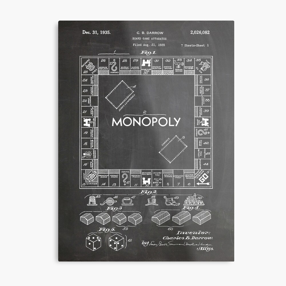 hight resolution of monopoly board game us patent art 1935 blackboard metal print