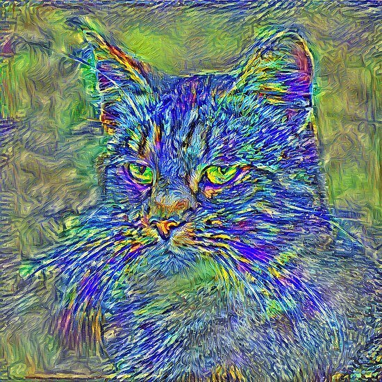 Artificial neural style Post-Impressionism cat